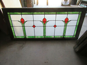 Antique Stained Glass Transom Window Colorful 52 X 24 Architectural Salvage