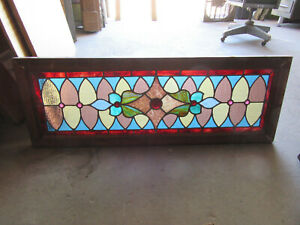Antique Stained Glass Transom Window Colorful 44 X 16 Architectural Salvage