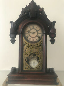 Antique F Kroeber Mantle Clock Working Well Chimes Hour Half Hour Great 1870s