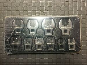Snap On 210fcoma 10 pc 3 8 Drive Metric Open end Crowfoot Wrench Set 10 19 Mm