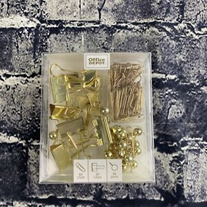 Office Depot Small Gold 60 paper Clip 10 clips 30 Push Pins Office
