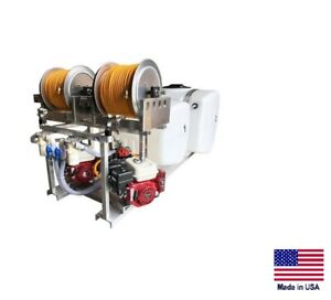 Sprayer Commercial Skid Mounted Dual User 2 Tanks 2 Engines 2 Reels