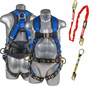 Palmer Safety Premium Fall Protection Full Body Harness 6 Safety Lanyard