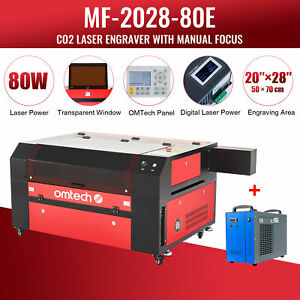Omtech 80w 20 x28 Co2 Laser Engraving Cutting Machine With Cw5200 Water Chiller