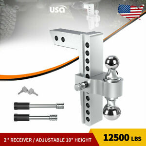 10 Adjustable Drop Hitch Ball Mount For 2 Receiver Heavy Duty Towing Trailer