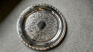 Vintage Oneida Usa Silver Plated Ornate Design 15 Round Serving Tray Platter