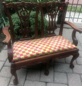 Small Chippendale Mahogany Childs Doll Bench Ball Claw Chair Mackenzie Childs
