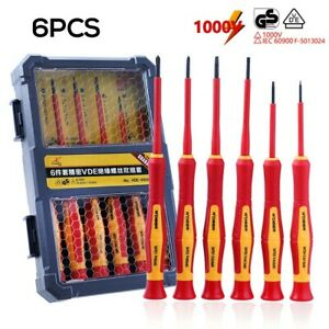 6 Piece Electricians 1000v Insulated Slotted Screwdriver Set