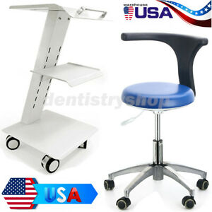 Doctor Assistant Stool Adjustable Height Mobile Chair Medical Cart Trolley Tool