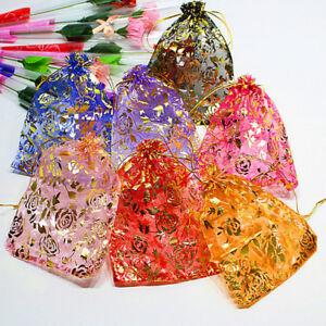 18 13cm 10x Jewelry Pouch Gift Bags Wedding Favors Organza Pouches Decoratiuth4