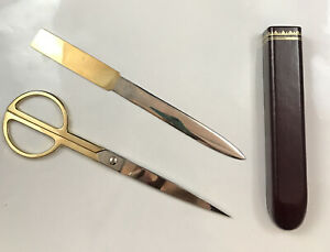 Vintage Mid century Modern Scully Scully Scissor Set Circular Office Leather