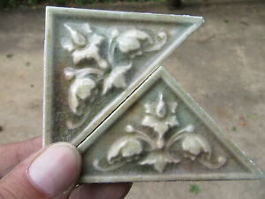 Lot Of 25 Antique Victorian Tiles Floral Triangular Architectural Salvage