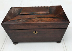 Antique Rosewood Tea Caddy Sarcophagus Style