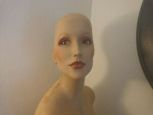 Beautiful Vintage Female Mannequin Display Head And Torso Only