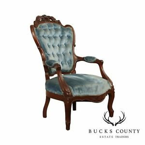 Victorian Rococo Style Vintage Carved Mahogany Tufted Velvet Armchair