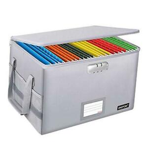 Fireproof Box With Lock File Box Storage Organizer With Silver