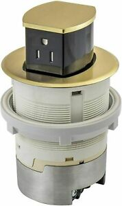 Hubbell Rct200br 15a 125v Tamper Resistant Brass Pop up Countertop Receptacle