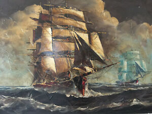 Vintage Oil Painting On Canvas Sailing Signed Lougacciu 36 L X 24 W