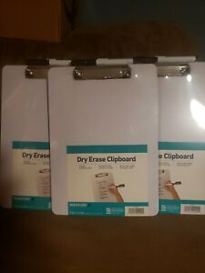 Clipboard Dry Erase Surface Low Profile Clip Whiteboard Single Wexford Lot Of 3