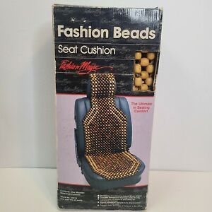 Natural Wood Bead Seat Cover Seat Cushion Massage Car Office Vtg New 70s 80s