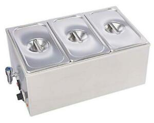 Zck165bt 3 Commercial Grade Stainless Steel Bain Marie 3 Sections With Tap