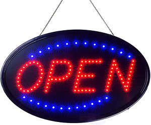 Led Neon Open Sign Business Light Flashing Mode Large Indoor Electric Storefront