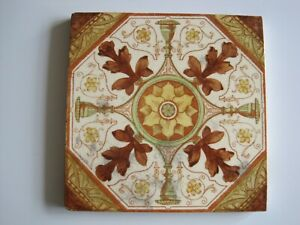 Antique Victorian T G F Booth Carron Co Print Tint Wall Tile C1888