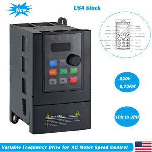 Ato 1hp 0 75kw Vfd 220v Single Phase To 3 Phase Vfd For Ac Motor Speed Controls
