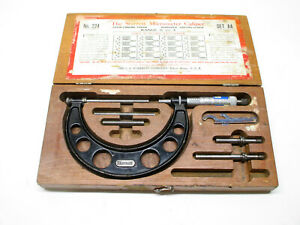 Starrett 224 Set Aa Micrometer Set W Case Wrenches 0 4 In Made In Usa 1977