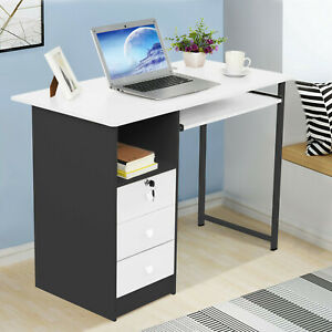 Computer Desk Laptop Writing Table Workstation W drawers Home Office Furniture