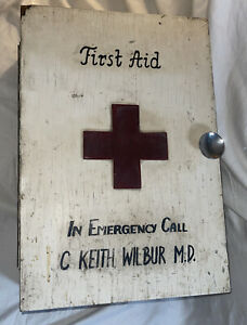 Vintage Folk Art Paint Decorated Wooden First Aid Medicine Cabinet Cupboard Box