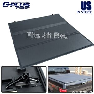 8ft Long Bed Hard Solid Tri Fold Tonneau Cover Fit For 2002 2021 Dodge Ram 1500