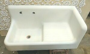 1920 S Cast Iron Porcelain High Back Corner Sink With Drainboard And Apron Front