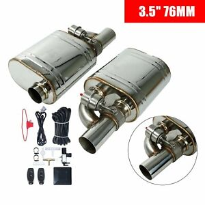 Pair 3 76mm Tip On Exhaust Muffler Valve Cutout One Wireless Remote Controller