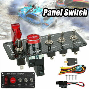 For Racing Car Rv Ignition Switch Panel W Engine Start Push Button Led Toggle