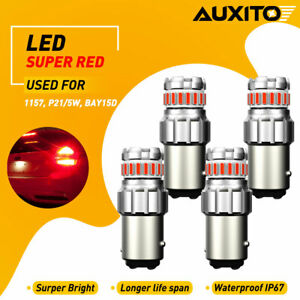 4x Pure Red 1157 Bay15d Tail Stop Brake Light Extremely Bright Led Reverse Bulbs