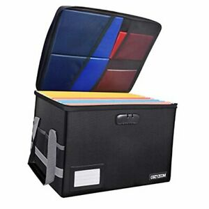 File Box With Lock Fireproof Document Organizer Box Collapsible Black