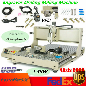 Usb 4axis 1 5kw Cnc 6090 Router 3d Engraver Metal Steel Milling Drilling Machine