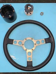 70 81 Trans Am Black Gold Steering Wheel With Adaptor And Horn Switch