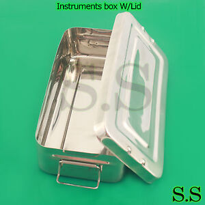 5 Instruments Box W lid 16 x8 x3 Surgical Medical