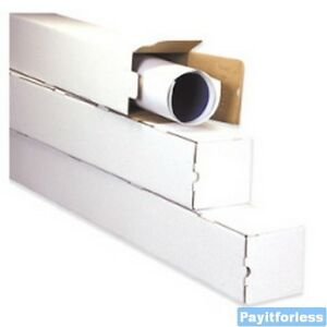3 X 3 X 25 White Square Shipping Mailer Mailing Storage Boxes Tubes 50 Pc