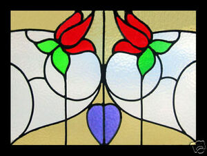 Art Nouveau Floral English Antique Stained Glass Window Really Beautiful