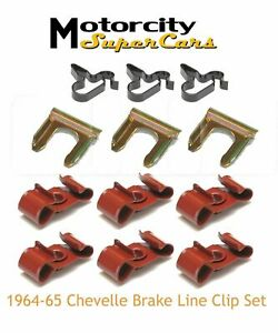 1964 1965 Chevy Chevrolet Chevelle Ss Brake Lines Line Clip Clamps Complete Set