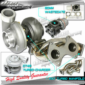 Gt45 Turbo Charger racing Header Manifold 50mm Wastegate Kit Mazda Rx7 93 96 Fd