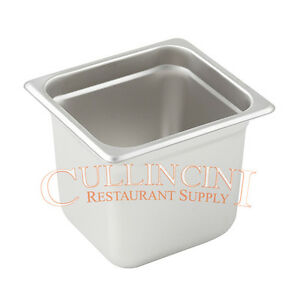 6 6th Size Steam Table Chafing Insert Pans 18 8 Stainless Steel 6 Inches Deep