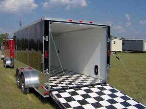 7x16 Enclosed Atv Cargo Motorcycle Trailer Black Finished Interior Toy Hauler