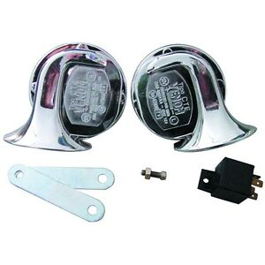 Brand New 2pc 12 Volt Car Boat Motorcycle Rv Chrome Electric Horn Set Hi Low