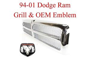 94 01 Dodge Ram 2pc Chrome Grill Oem Emblem 1500 2500 3500 95 96 97 98 99 00