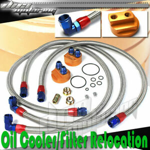 Aluminum Engine cooler Oil Filter Relocation Kit fitting braided Stainless Line