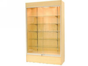 Maple Color Wall Display Case Retail Store Fixture W lights Knocked Down wc4m